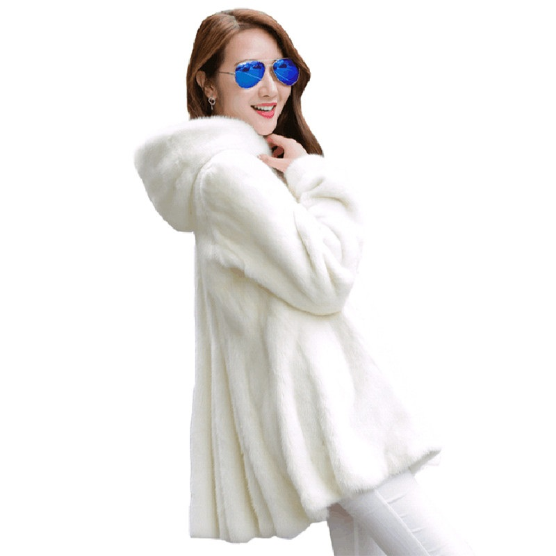 Plus Size 4XL Women Basic Coats New Fashion Winter Jacket Imitation Mink Coat Hooded Overcoat Faux Fur Coat Tops Women Clothing