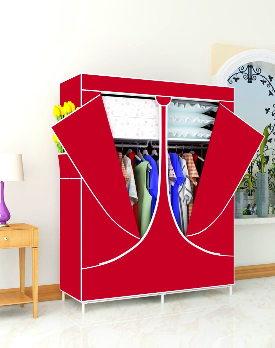 Simplicity Steel Tube Household Cloth Wardrobe Red Dustproof Students Dormitory Economical Wardrobe Oxford Cloth A Generation Of