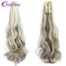 Ombre Long Wavy Women Synthetic Claw On Ponytails Chorliss Clip in Hair Extensions Black Blonde Brown Horse Tail Fake Hairpieces(China)