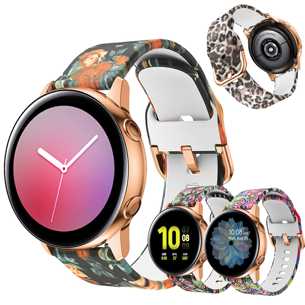 For Samsung Galaxy Watch Active 2 44mm 40mm Silicone Wrist Strap Fashion Printing Replacement Bracelet Active2 20mm Watch Band