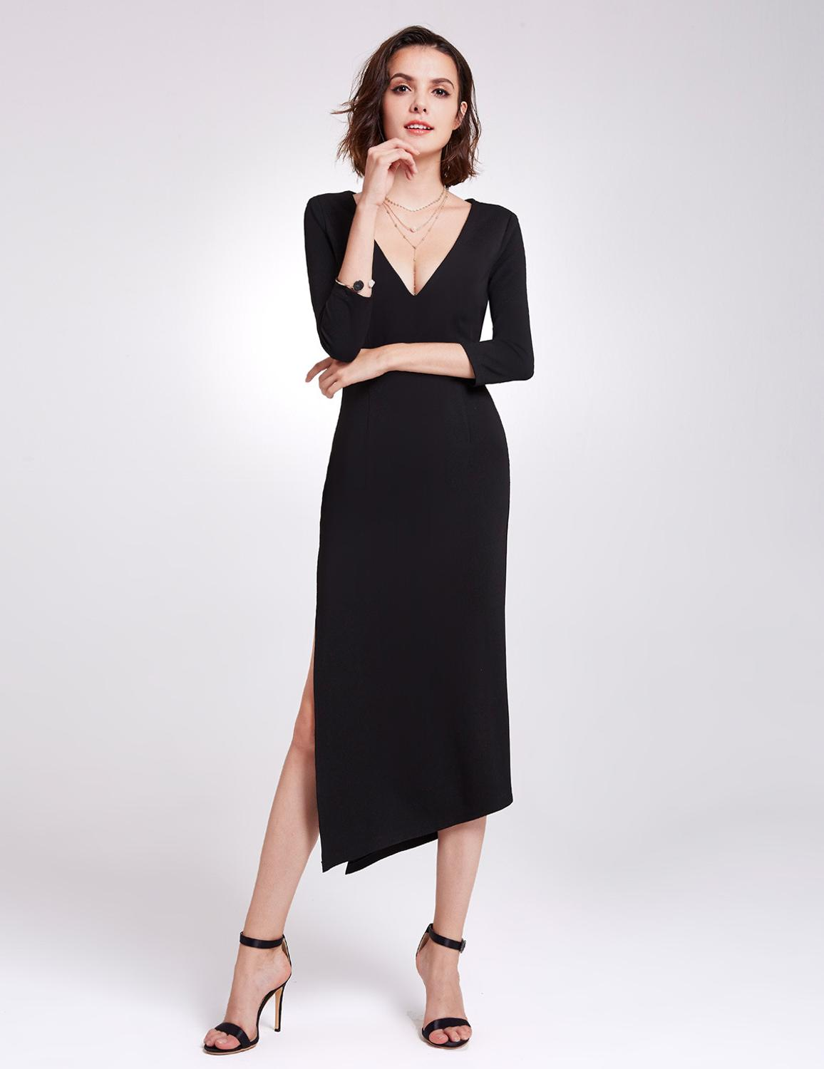 Asymmetrical Hem   Cocktail     Dress   Deep V-neck 3/4 Sleeves Black Classic   Dress   Side Slit Simple Pretty Forever   Dress   for Party