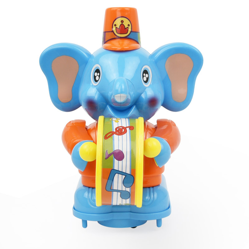 Feng Yuan 28331 Baby Happy Baby Elephant Joy Side Drum Hand-Walking Cartoon Music Rattle Baby Toys