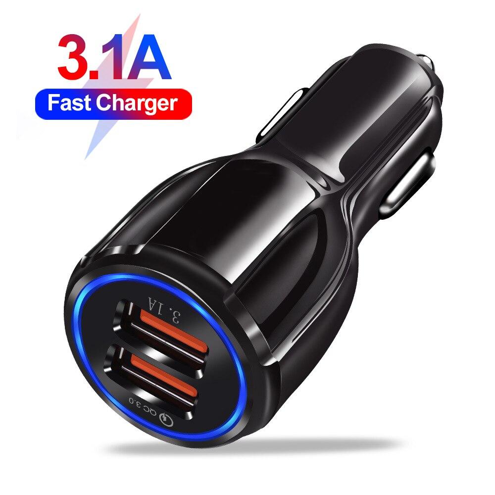 18W 3.1A автомобильное зарядное устройство с двумя портами USB для быстрой зарядки QC телефон зарядное устройство адаптер для iPhone 11 Pro Max 6 7 8 плюс ...