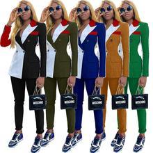 Осенне-зимний спортивный костюм; блейзер с длинными рукавами; брюки; костюм из двух предметов; Повседневная модная одежда; разноцветная форма в стиле пэчворк; D5090
