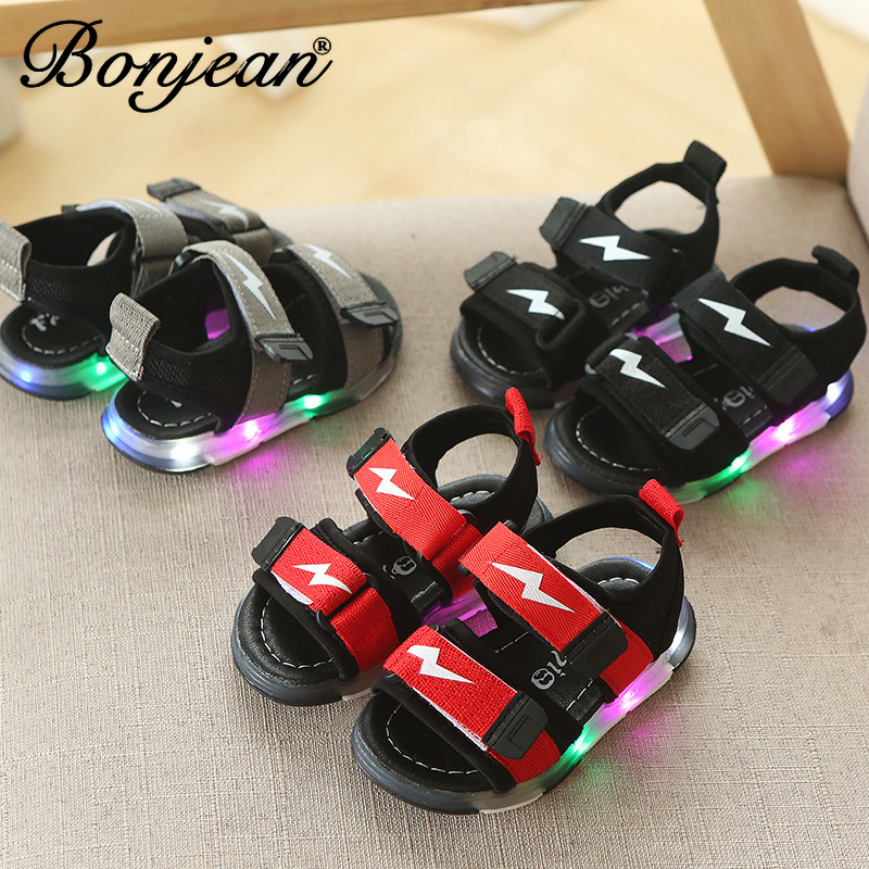 2020 Baby Girl Fashion Breathable Lightning Shoes Children Baby Patchwork Kid Summer Girl Soft Led Toddler Boys Sandals Shoes