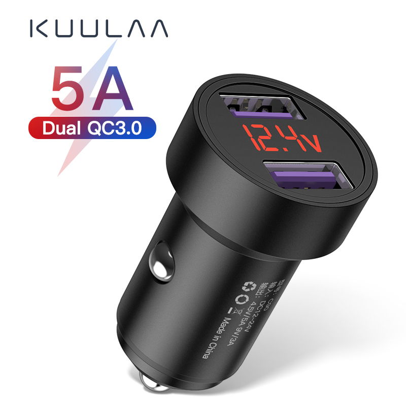KUULAA Quick Charge 3.0 USB Car Charger For iPhone Xiaomi Samsung Huawei SCP QC3.0 QC Fast Charging Car Mobile Phone Charger