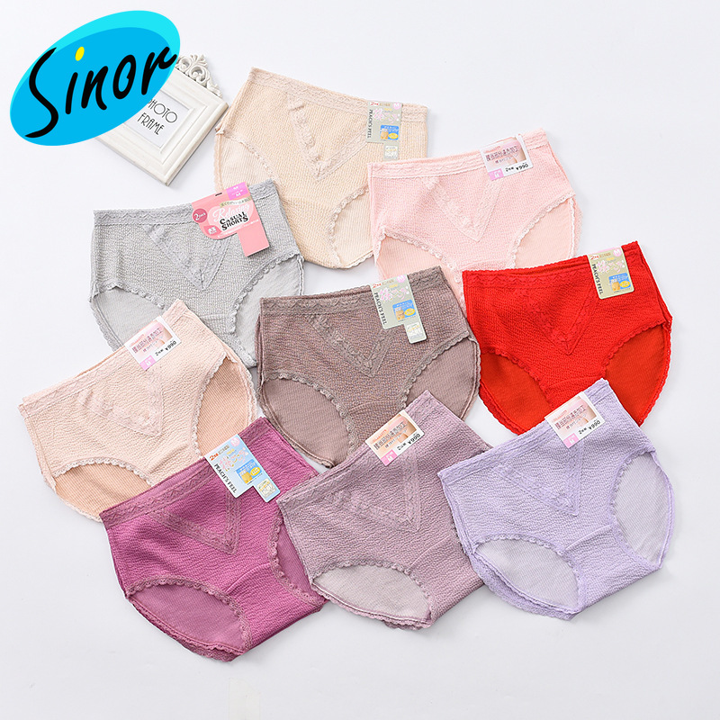 2pcs/bag Manufacturers Add Fat Large Size Fat Mm200 Jin Middle-aged High Waist Women's Lace Underwear One Product Dropshipping