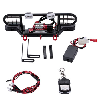 Bumper Metal with Winch 2 LED Light Remote Controller Receiver for Traxxas TRX-4 TRX4 RC Crawler Car Parts