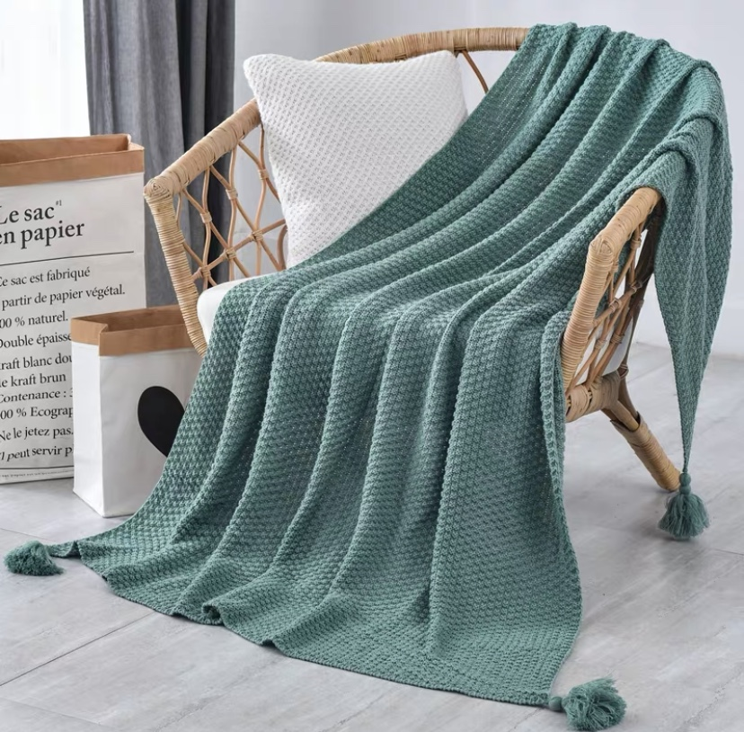 Green Blanket Sofa Knit Throw Blanket Shawl for Women Travel Airplane Car Home Sofa Chair Couch Bed Blanket Air-conditioning