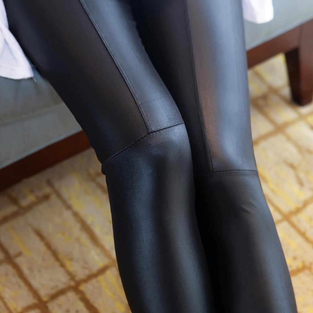 Frauen Imitation Leder Gespleißt Shiny Dünne Dünne Hosen Dünne Hosen Neun Leder hosen Dünne Hohe Qualität 2019