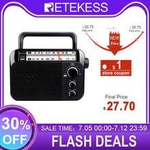Retekess TR604 FM/AM רדיו עם גדול רמקול AC או D סוללה מופעל מקלט ברור חיוג גדול ידית עבור קשישים בית