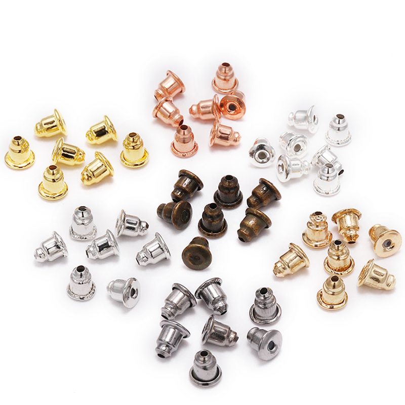 5*6mm 200pcs Earring Studs Backs Stopper Scrolls Ear Findings DIY Blocked Caps Earring Backs Stoppers Ear Accessories Supplies