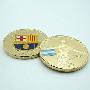 5 unids/lote la Copa del Mundo de Estrella del Fútbol Lionel Messi medalla conmemorativa chapados en oro de aerosol de Color-impresión monedas artesanías