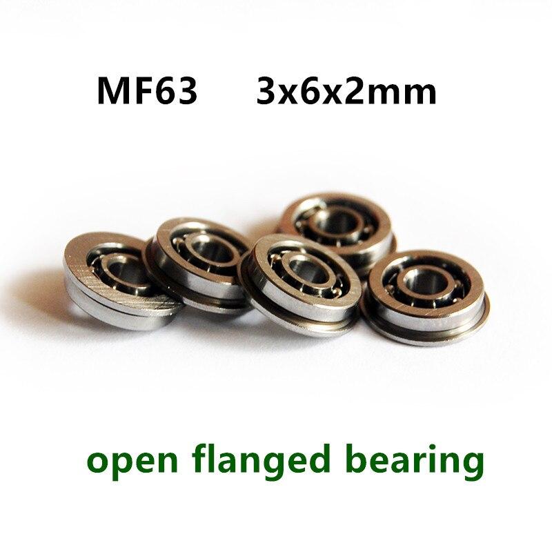 100pcs MF63 Open Type Flanged Bearing LF-630 3*6*2 Mm Miniature Flange Ball Bearings ABEC-5 3x6x2 Mm