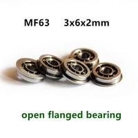 100pcs MF63 open type flanged bearing LF 630 3*6*2 mm Miniature flange ball bearings ABEC 5 3x6x2 mm ball bearing yo yo ball bearing bikeball bearing roller bearing -