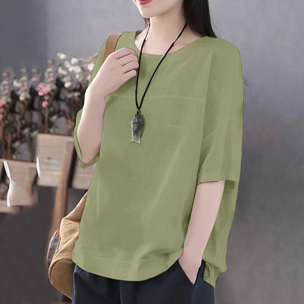 Linen Cotton Tunic Women Summer Casual Solid  Loose Tshirt 2