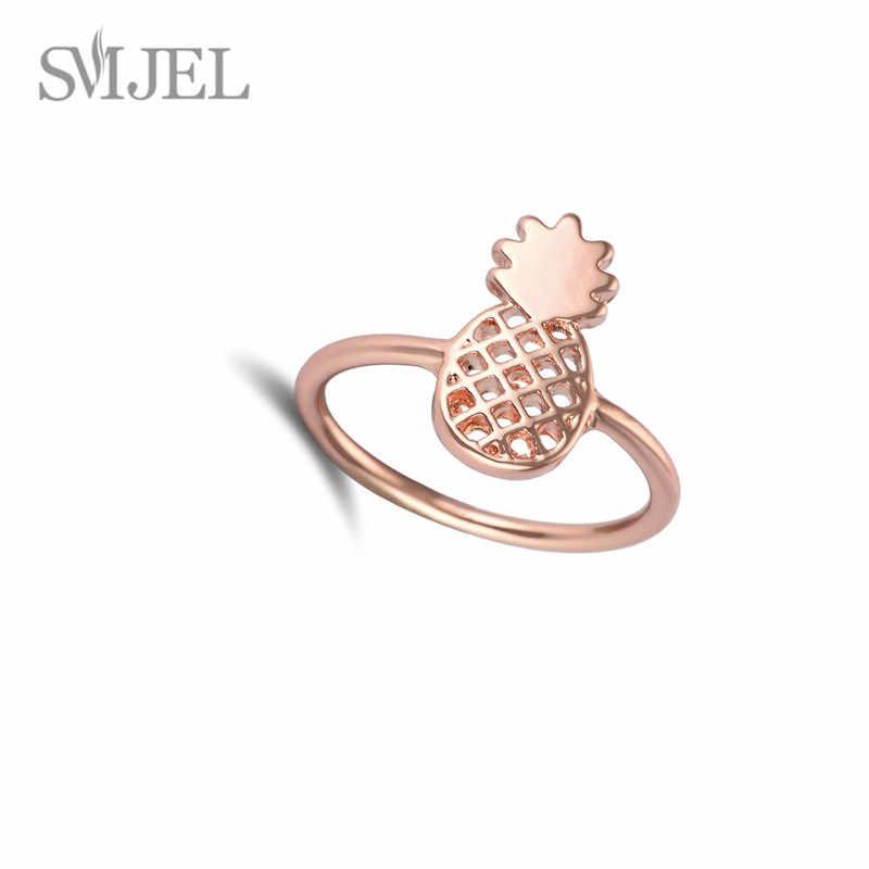SMJEL น่ารักแฟชั่น Pineapplep แหวนนิ้วมือโลหะผลไม้ทุกวันแหวนและลูกสาววันเกิดของขวัญ 2019
