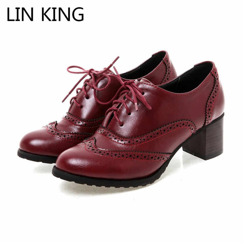 LIN KING Big Size Shallow Women Pointed Toe Pumps Lace Up Low Top Female Oxfords Shoes Thick Heel Girls Brogue High Heel Shoes