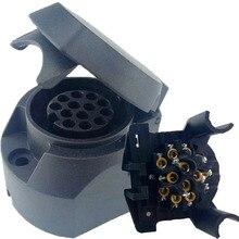 13-контактный разъем черные матовые материалы 13-полюсным розетка трейлера 12V фаркоп буксировки гнездо