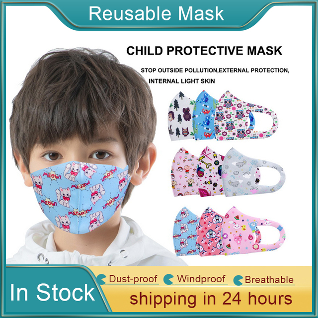 10pcs Pattern Child Face Masks For Girl Boy Kids Washable Reusable Anti PM2.5 Cotton Mouth Masks Anti Dust Earloop Mask 2
