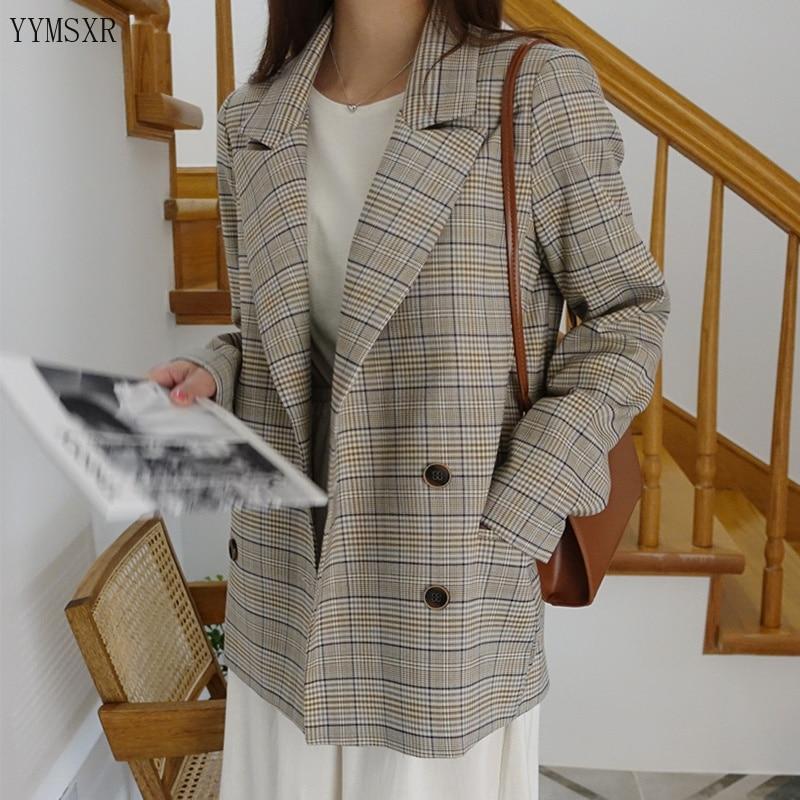 Casual Women's Jacket Feminine Suit Plaid 2020 New Spring And Autumn Retro Ladies Blazer Fashion Small Suit Female Coat