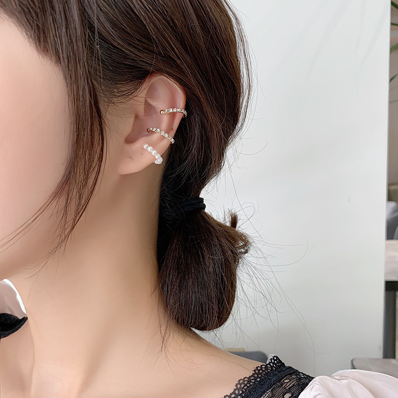 Jewelry Earrings Ear-Cuff Adjustable Statement No-Hole Women Rock 1PC Imitation-Pearls