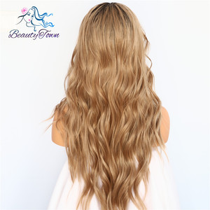 Image 4 - BeautyTown perruque en soie avec racines foncées ombré marron naturel ondulé, maquillage quotidien de reine, perruque synthétique présente pour femmes, mariage