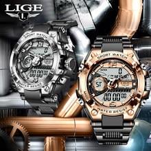 LIGE-Reloj de pulsera Digital para hombre, accesorio Masculino multifuncional resistente al agua hasta 50M, con diseño militar y diseño de G-SHOCK