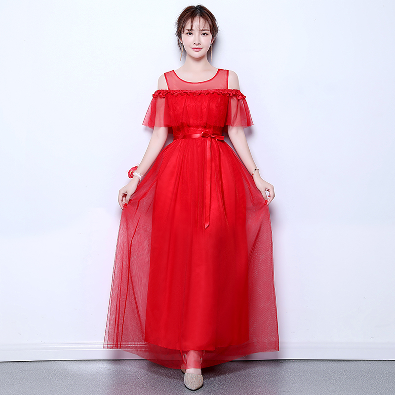 O-Neck Red Tulle Bridesmaid Dresses Elegant Ruffles Lace Long Dress For Wedding Party For Woman Sexy Prom Dress Sister Vestidos