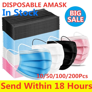 100/50pcs Mask Disposable Face masks Non woven 3 Layer Mouth Mask Filter Black Dust proof Breathable Earloops Mask Mascarillas