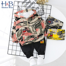 Humor Bear Boys Clothes Set Camouflage Baby Suit Hooded Camo Top + Pants Sports Children Kids Outwear Toddler for 1-5Y