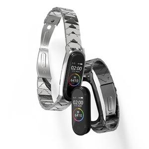 Image 2 - Metal Bracelet Mi Band 5 Strap NFC Global Version Correa Original for Xiaomi Mi Band 4 Smart Watch Mi Band 3 Stainless Wrist