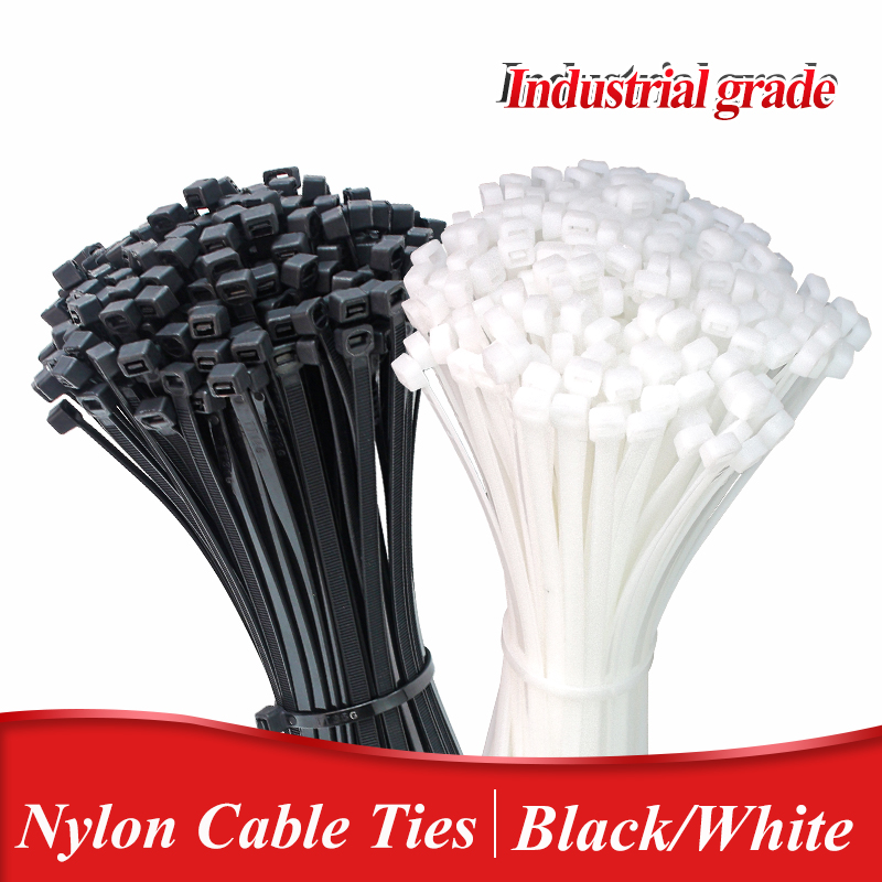 Самоблокирующийся пластиковый нейлоновый галстук, 100 шт., черный крепежный ремешок, набор кабельных стяжек, застежка-молния, крепление ring3X200...