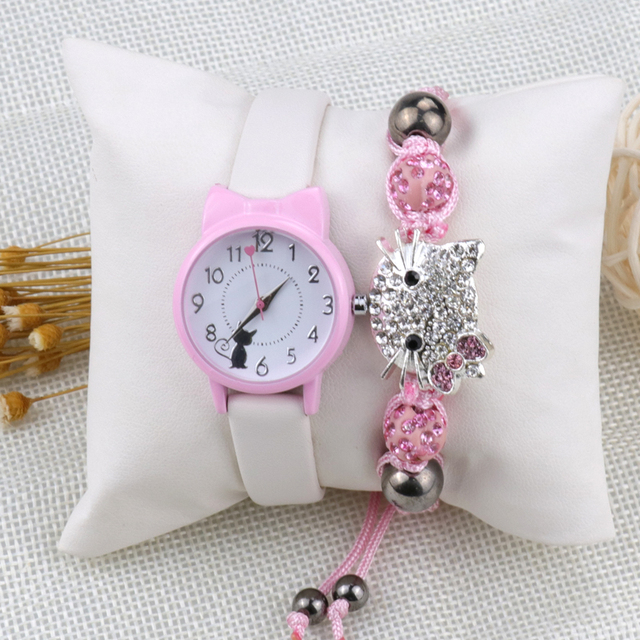 Moda feminina relógio de pulso pulseira conjunto crianças relógios pulseira de couro gato senhoras relógio presentes estudante relógios bonito dos desenhos animados relógio 4