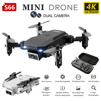 4K RC Foldable Drone Dual Camera Wifi Drone FPV Mini Drone HD Wide Angle Camera Helicopter Quadcopter Drone RC Toys For Kids S66 цена 2017