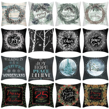 Chirstmas Pillow Case Linen Cartoon Cushion Cover for Sofa Car Christmas Tree Decorative kussenhoes 18x18