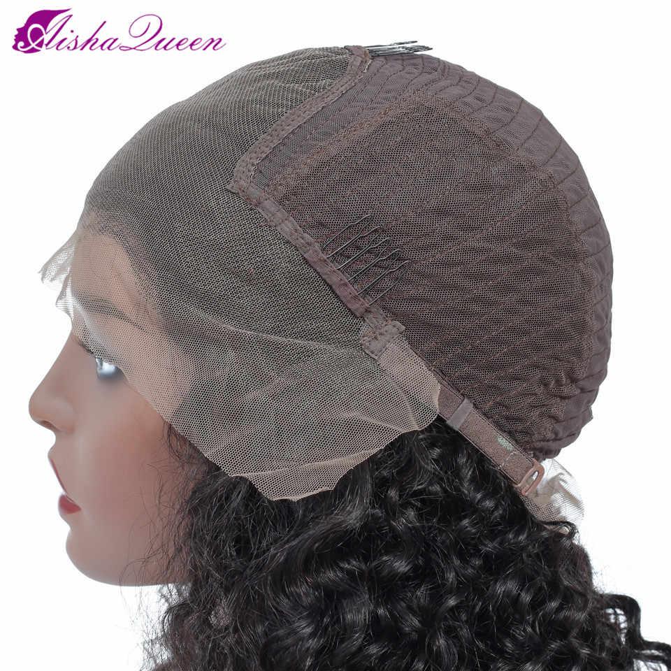 Aisha Queen Brasil Keriting Keriting Rambut Manusia Wig untuk Wanita Hitam Renda Frontal Wig 13*5 Renda Depan Manusia wig Rambut