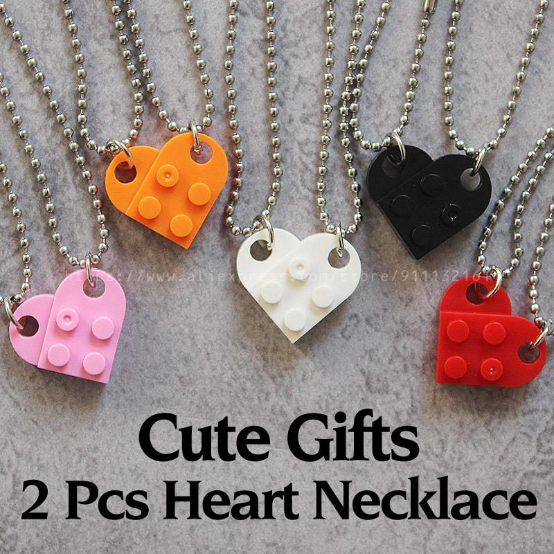 2Pcs Cute Love Heart Brick Pendant Necklace for Couples Friendship Women Men Girl Boy Elements Valentine's Day Jewelry Gift