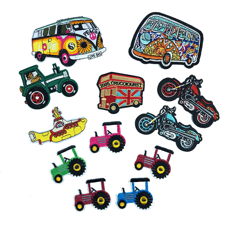 1pc Vehicle Cartoon Bus Tractor Embroidery Patch For Shoes Children's Wear Jeans Applique Iron Patches For Clothing High Quality