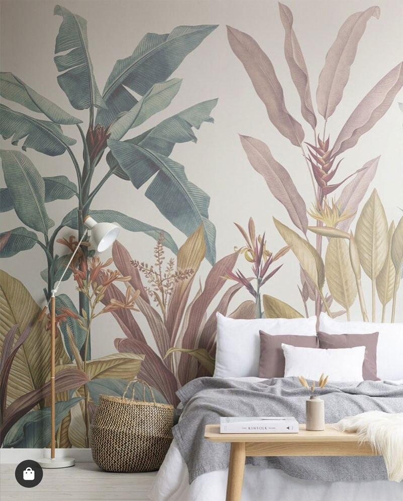 Bacaz Custom Banana Leaf Wallpaper Canvas Print Tropical Rain Forest Plant Background Mural Home Decor 3d Photo wall paper 2