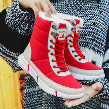 Winter Vrouwen Laarzen Bont Sneeuw Warme Laarzen Vrouwelijke Rubber Platte Mode Dames Schoenen Winter Warme Laarzen Sneakers Red Big Size 43(China)