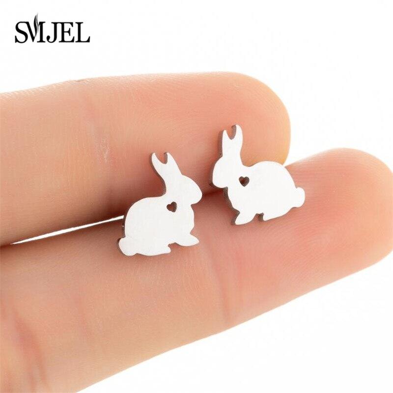 Женские серьги-кролики SMJEL из нержавеющей стали, ювелирные изделия для ушей, милые серьги-кролики с животными, подарок на день рождения, опто...
