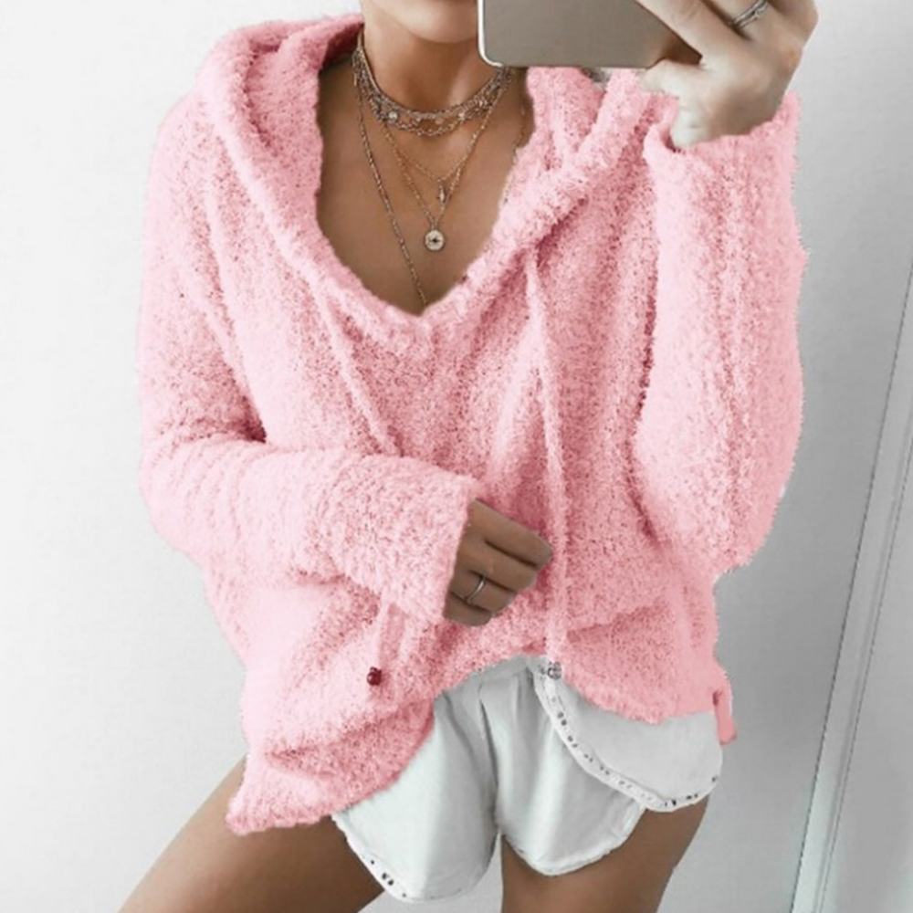 Autumn Top Women Casual Mohair Hooded Pullovers V Neck Fleece Sweatshirt Fashion Sweet Loose Warm Winter Mohair Tops Pullover