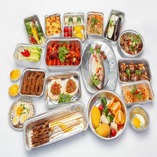 Tin foil contenant food jetable disposable containers takeaway packaging boxes tray