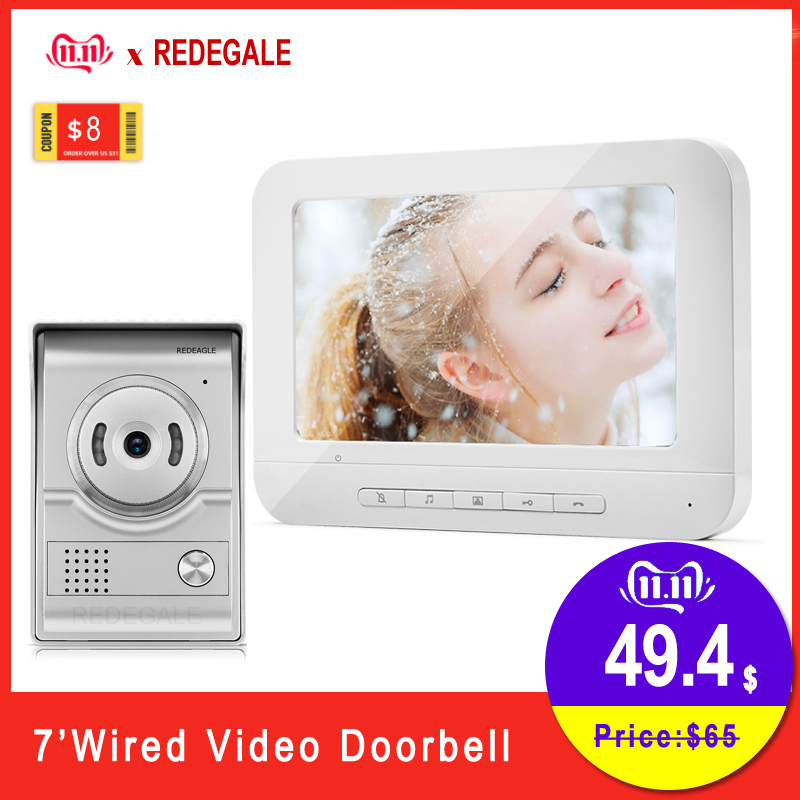 Home Wired Video Door Phone Doorbell Intercom System With 7 Inch LCD Monitor & Rainproof Night Vision Camera