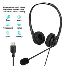 Usb Headset Met Microfoon Usb Wired Stereo Pc Hoofdtelefoon Noise Cancelling Audio Controles Voor Call Center/Office/Conferentie call(China)