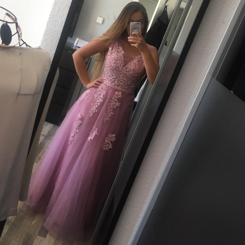 Real Photo Pink Long  Evening Dress 2019 In Stock Formal Dress Evening Gown Sleeveless Applique Prom Party Dress robe de soiree