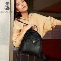 FOXER Genuine Leather Women Backpack Female School Bag Casual Multifunction Women Travel Bag Soft High Quality Ladies Rucksacks