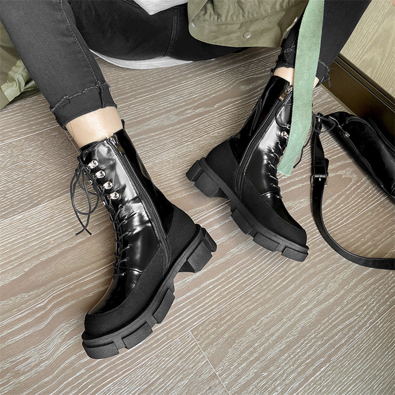 Meotina Motorcycle Boots Women Shoes Real Leather Platform Mid Heel Boots Zip Lace Up Thick Heels Mid Calf Boots Lady White 40