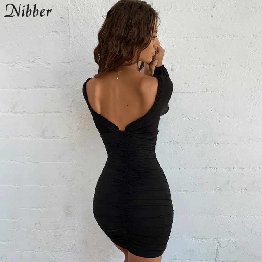Nibber Осенние сексуальные вечерние платья для женщин 2019 Клубные прозрачные облегающие мини-платья базовые черные розовые короткие бедра платья mujer
